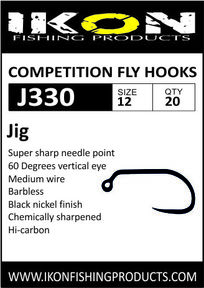 IKON Barbless fly hooks J330 #12