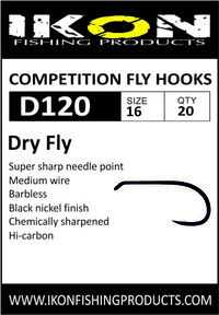 IKON Barbless fly hooks D120 #16